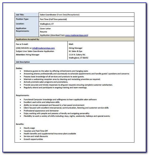 Job Description Template Medical Receptionist
