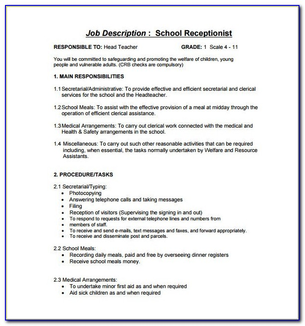 Job Description Template Receptionist Position