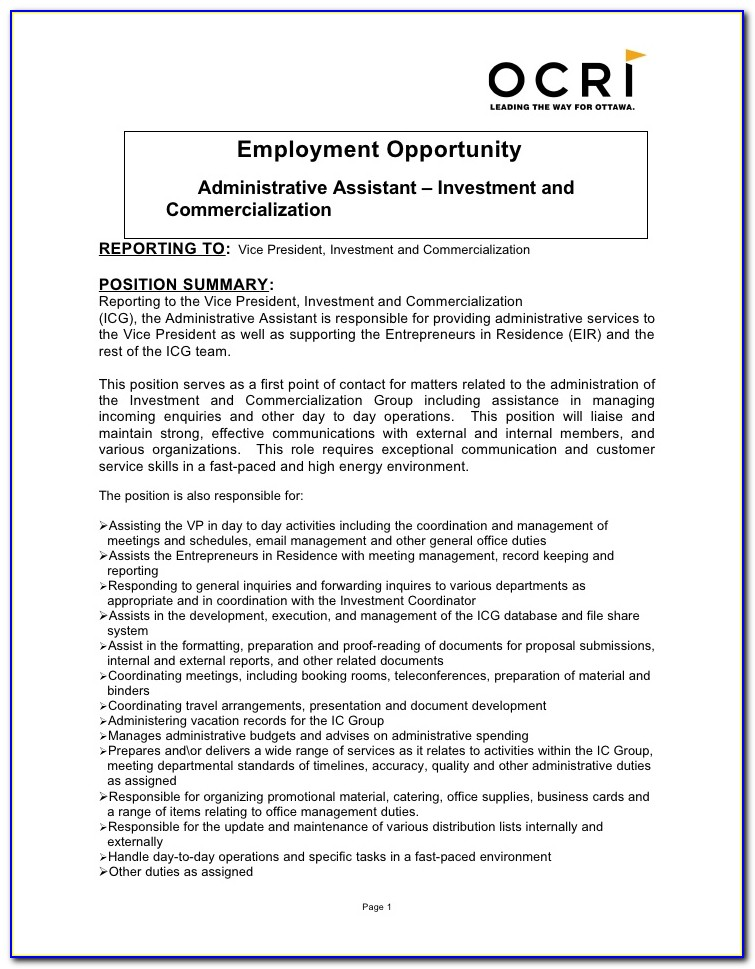 Job Descriptions For Administrative Assistant On Resume