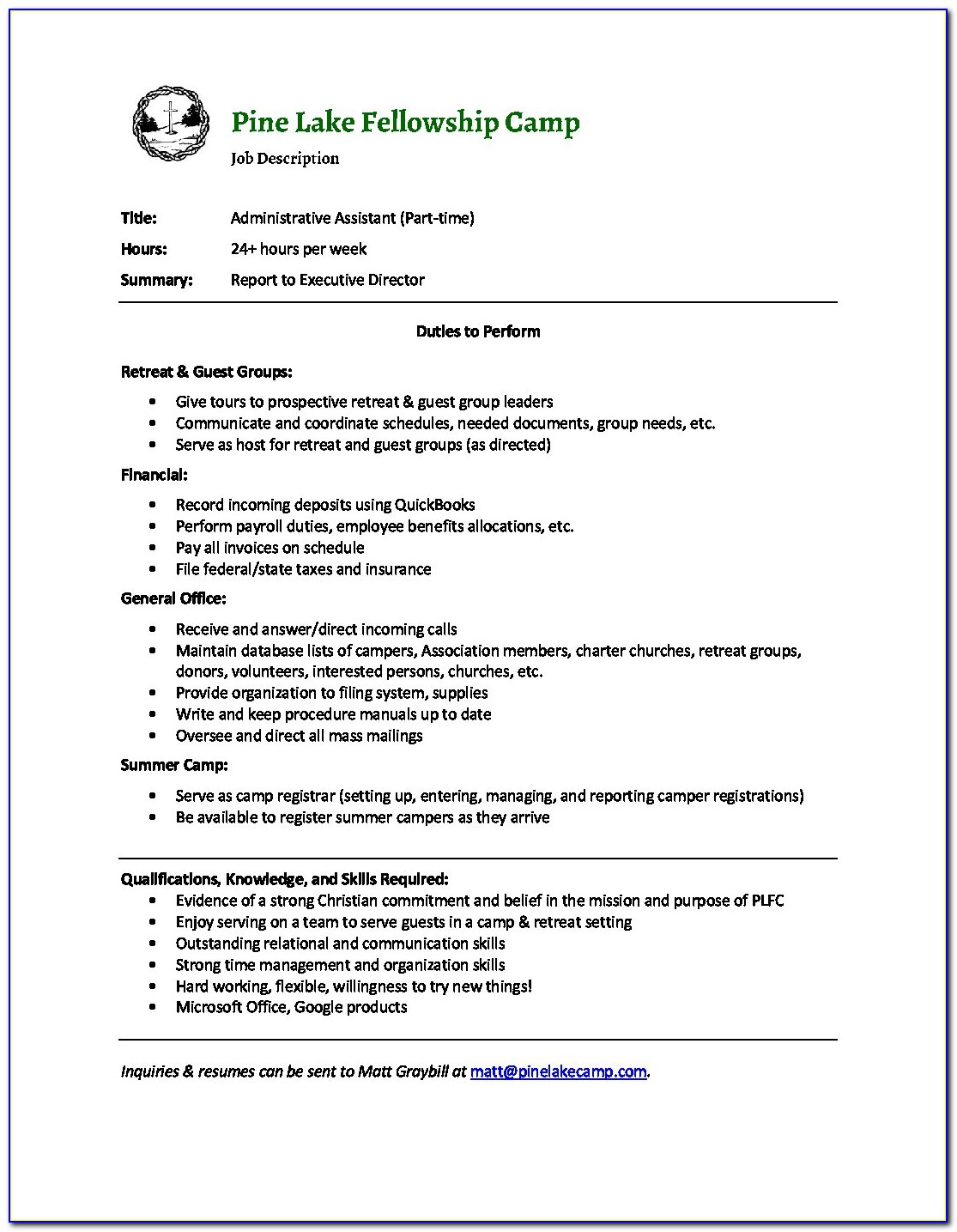 Job Descriptions For Administrative Assistants