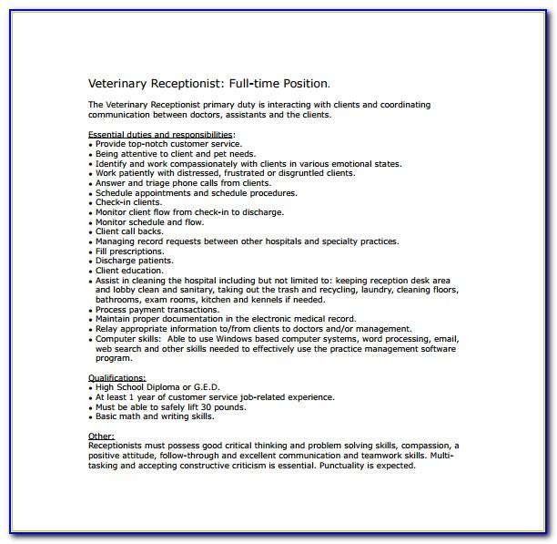 Job Duties Receptionist Resume