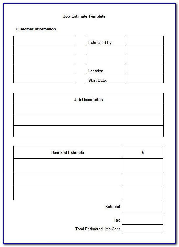 Job Estimate Form Template
