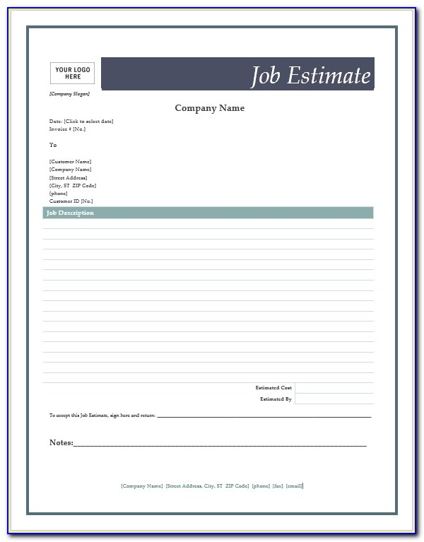 Job Estimate Forms Templates Free