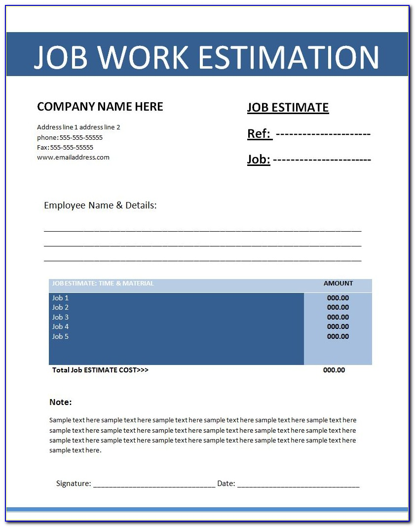 Job Estimate Templates Free