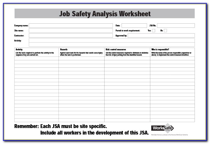 Job Hazard Analysis Template Word