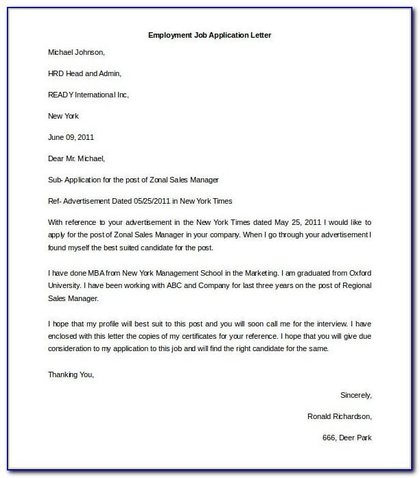Job Letter Sample Free