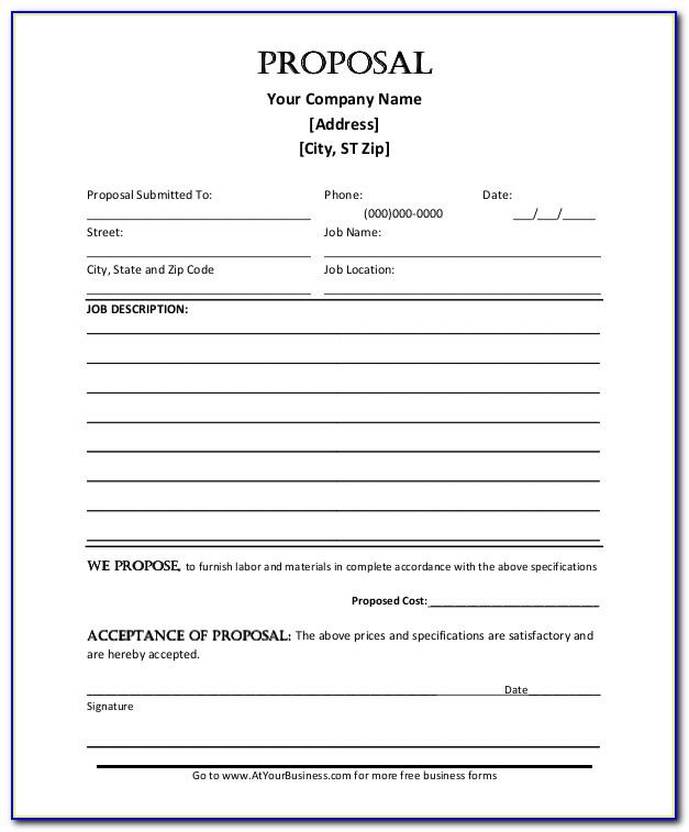 Job Proposal Template Excel