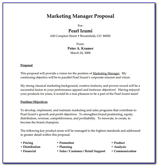 Job Proposal Template Free Download