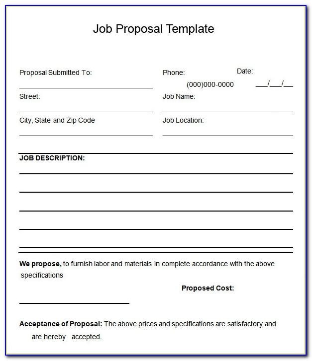 Job Proposal Template Free Word
