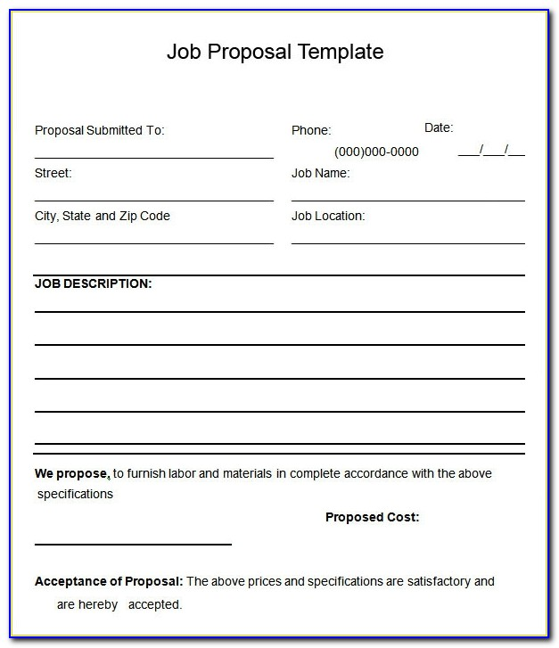 Job Proposals Templates Free