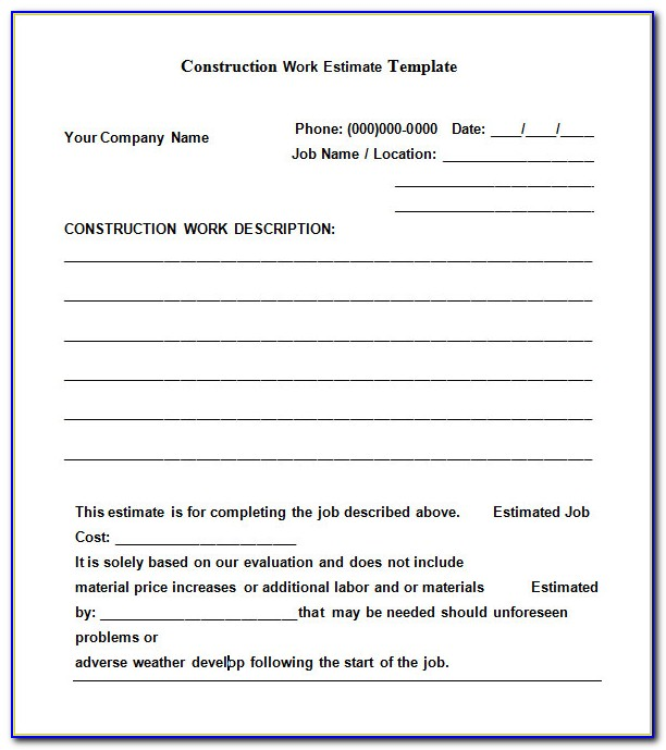 Job Quote Template Pdf