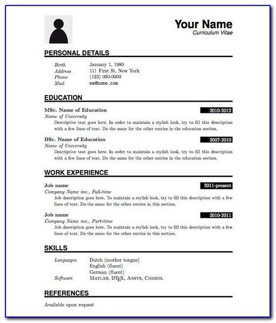 Job Resume Format Pdf File Download