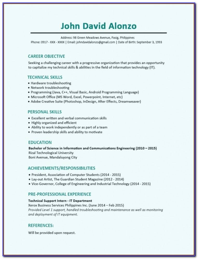 Job Resume Format Pdf Free Download