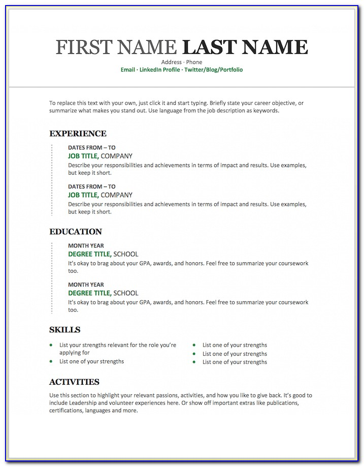 Job Resume Templates For Microsoft Word