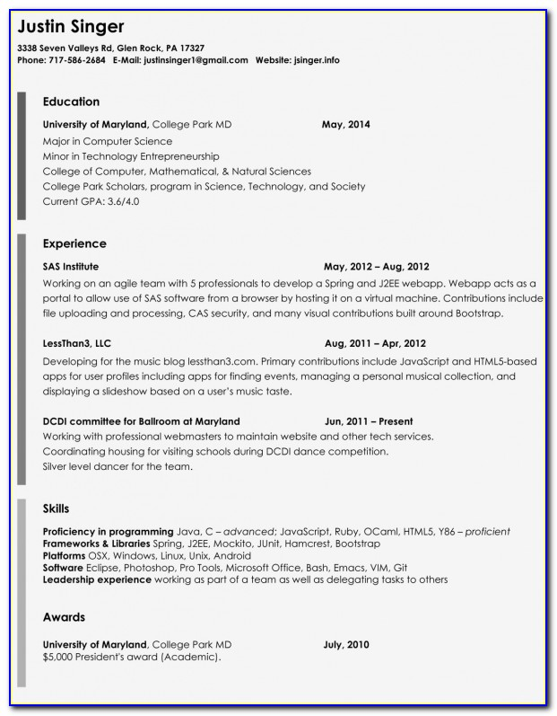 Job Resume Templates Free Download