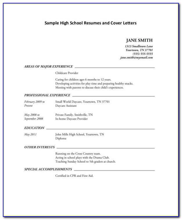 Job Resumes For High School Students