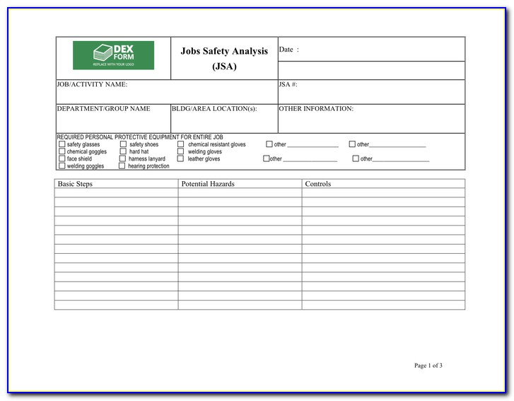 Job Safety Analysis Forms Free