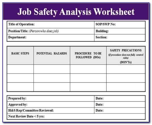Job Safety Analysis Template Wa