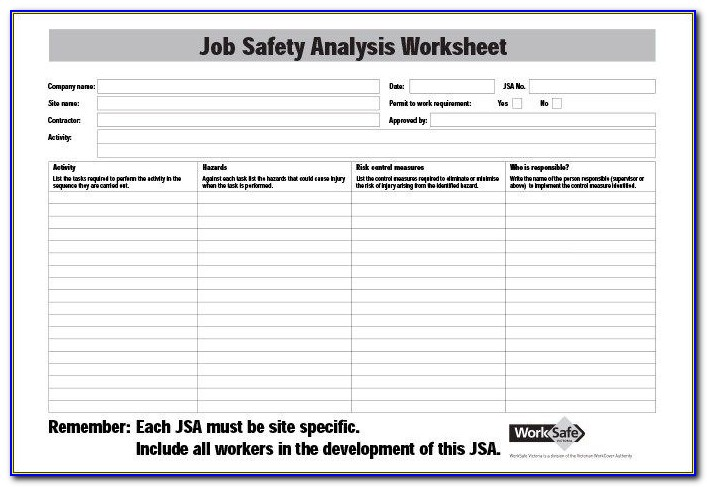 Job Safety Analysis Templates