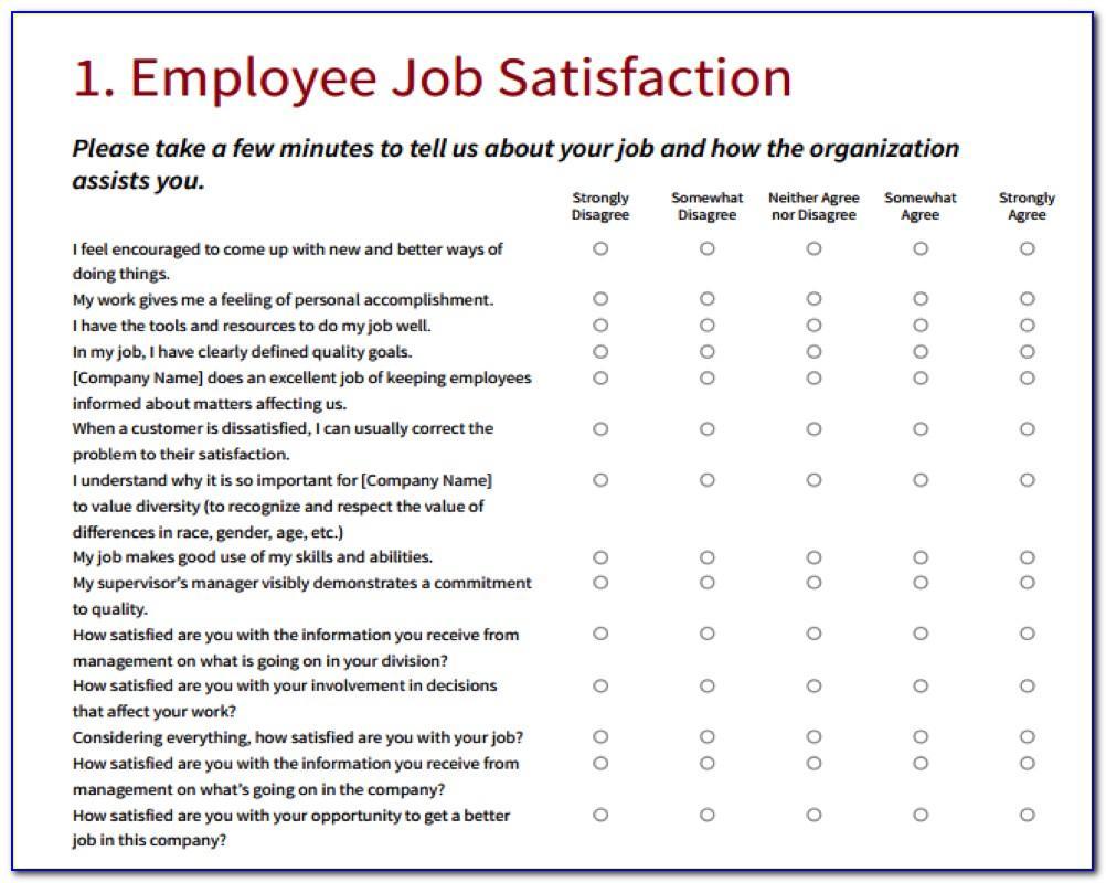 Job Satisfaction Questionnaire Templates