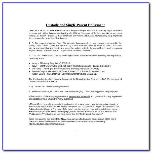 Joint Custody Agreement Form Georgia
