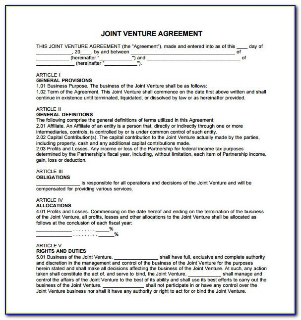 Joint Venture Agreement Doc India