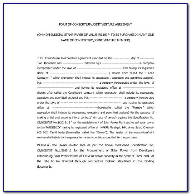 Joint Venture Agreement Document Template