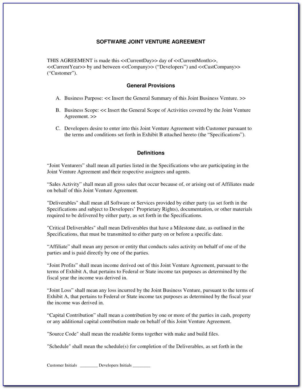 Joint Venture Agreement Example Pdf