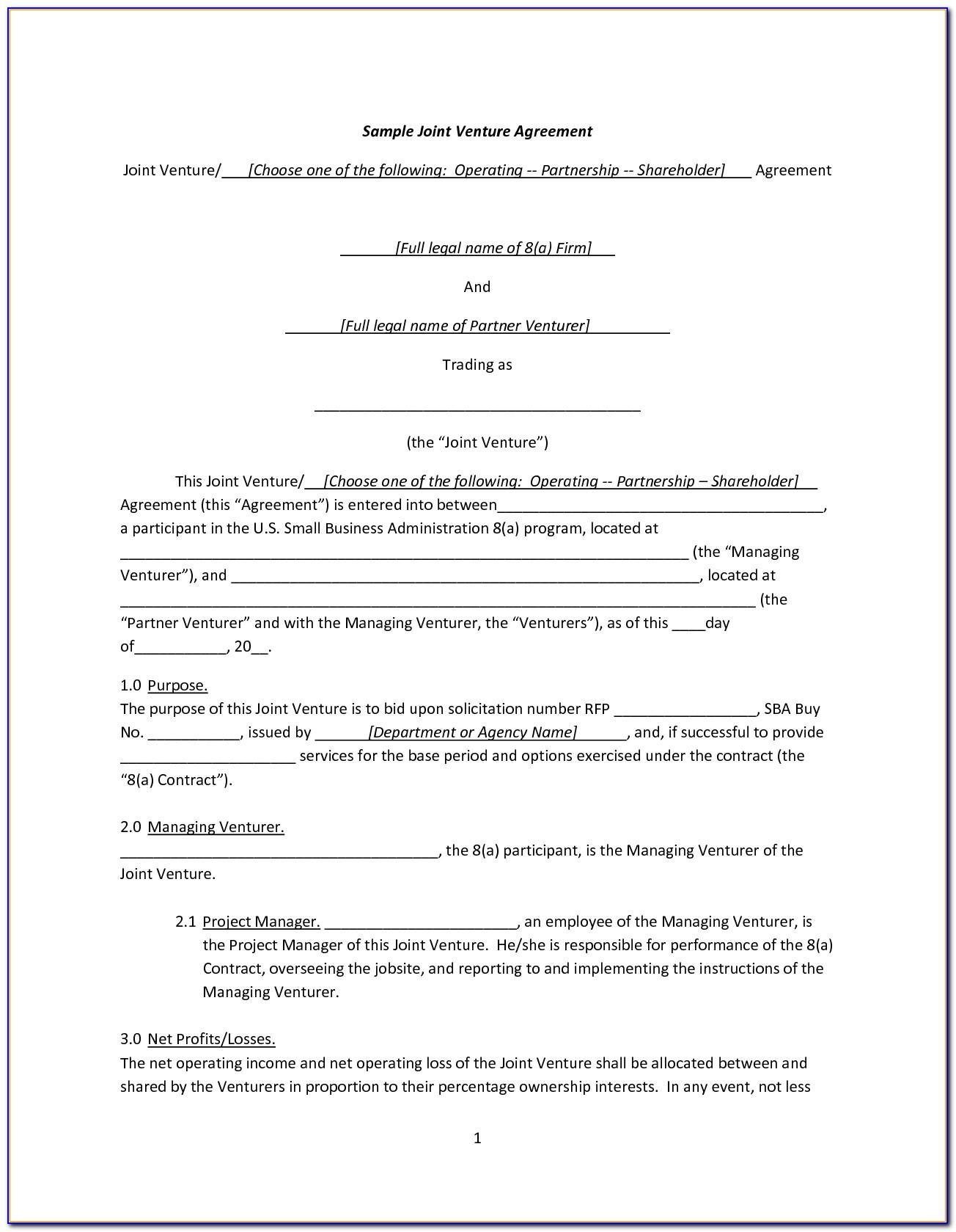 Joint Venture Agreement Forms Pdf