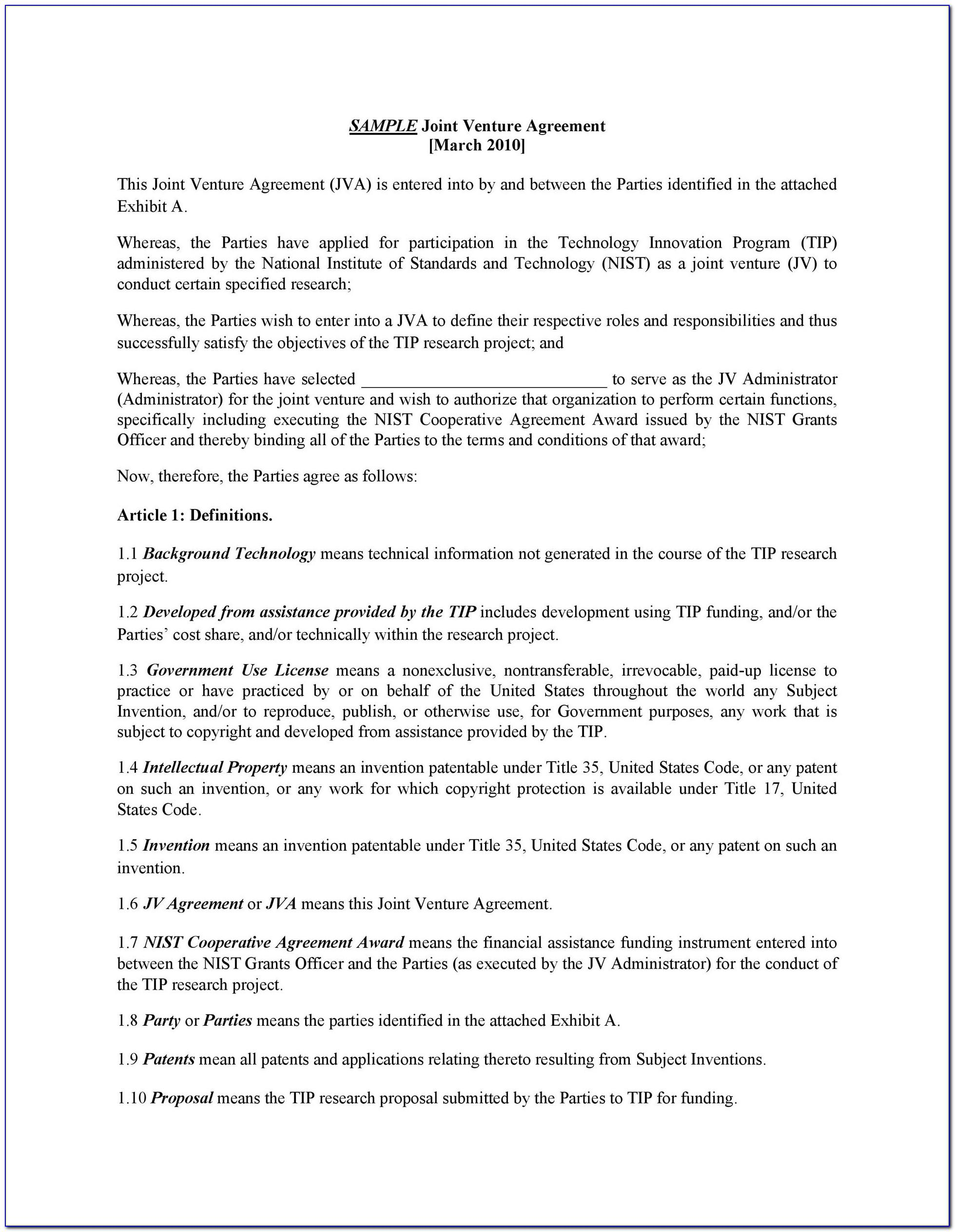 Joint Venture Agreement Sample Word Format