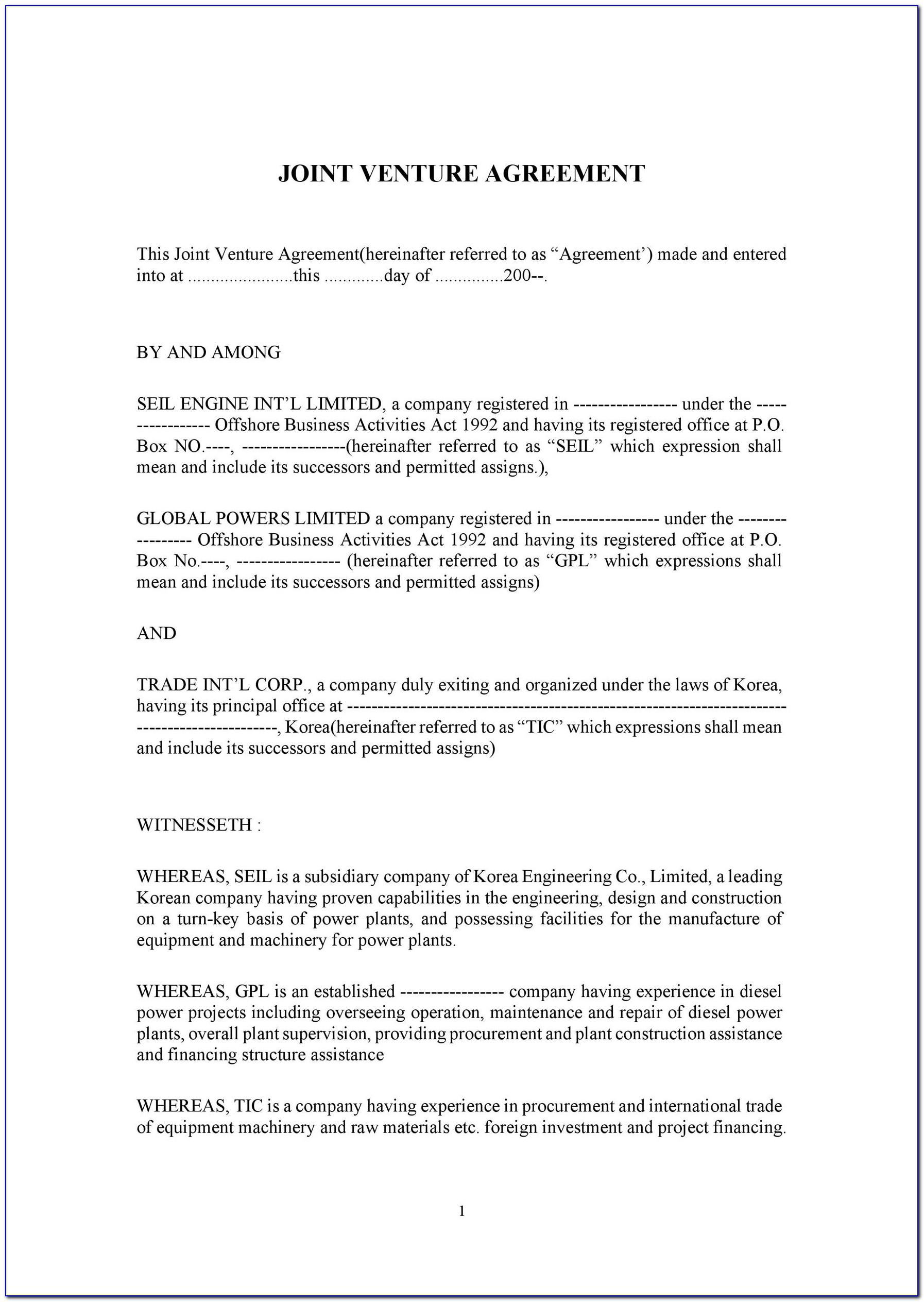 Joint Venture Agreement Template Australia