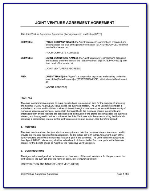 Joint Venture Agreement Template Doc