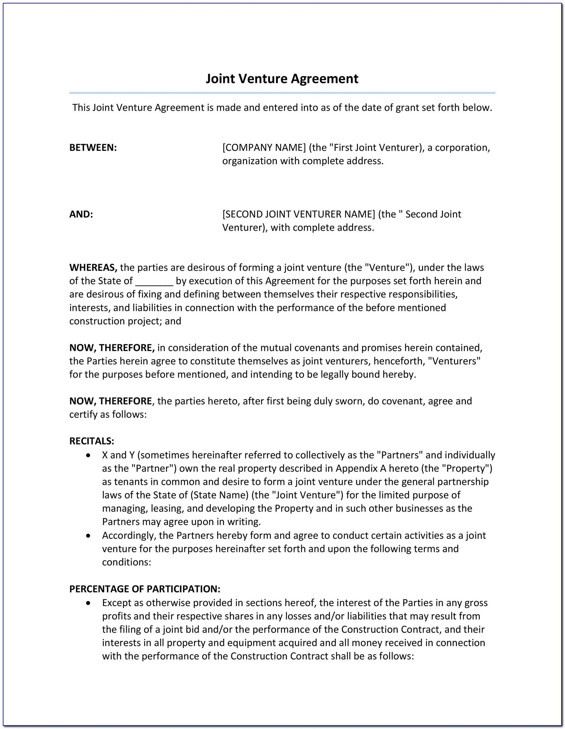 Joint Venture Agreement Template Free Download South Africa