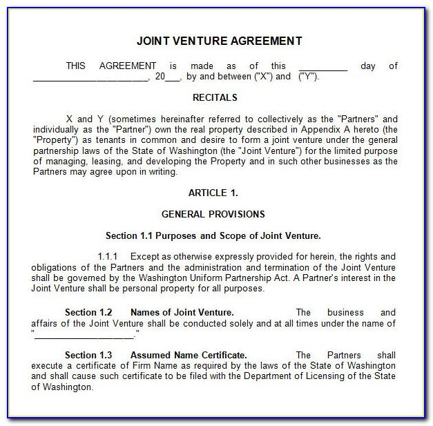 Joint Venture Agreement Template India