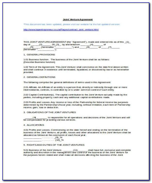 Joint Venture Agreement Template Malaysia