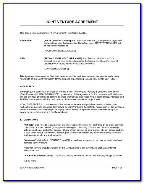 Joint Venture Agreement Template Pdf