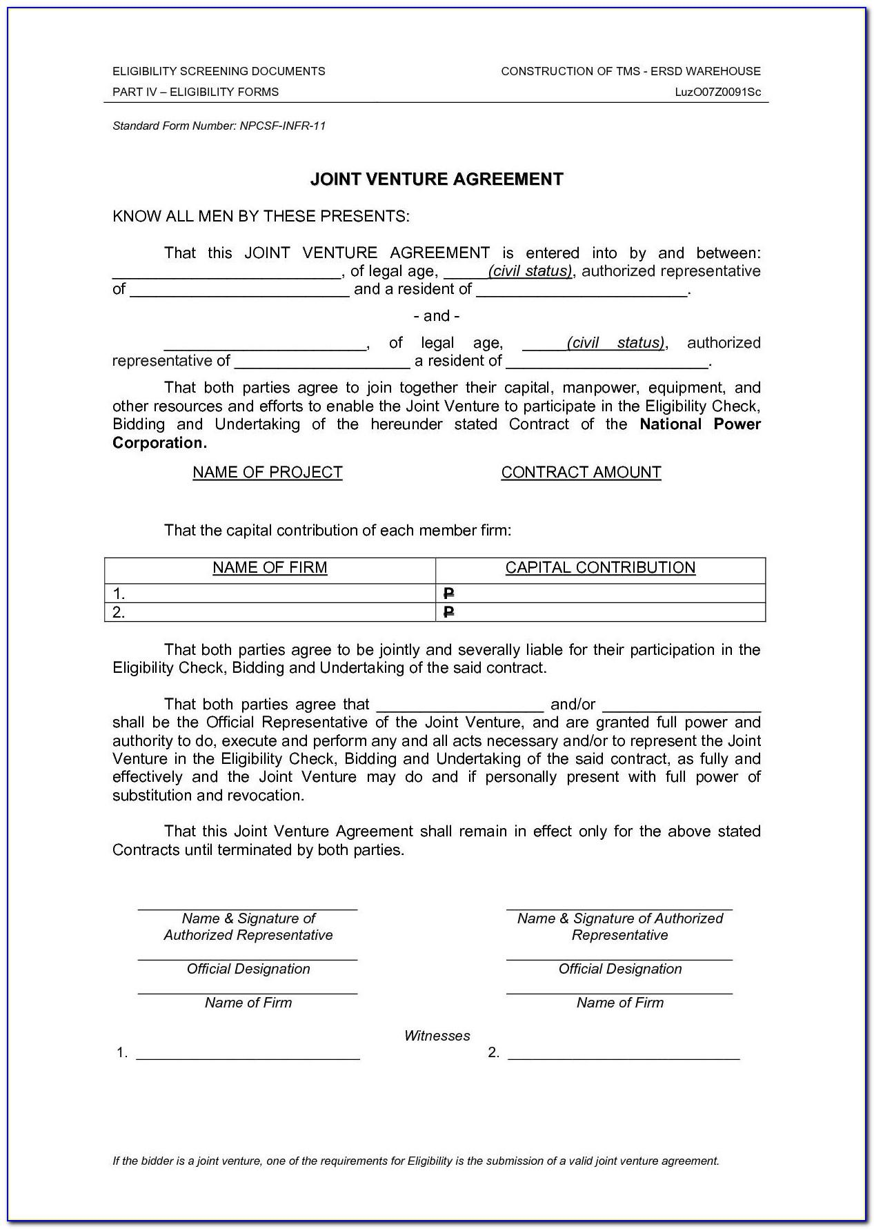 Joint Venture Agreement Template Philippines