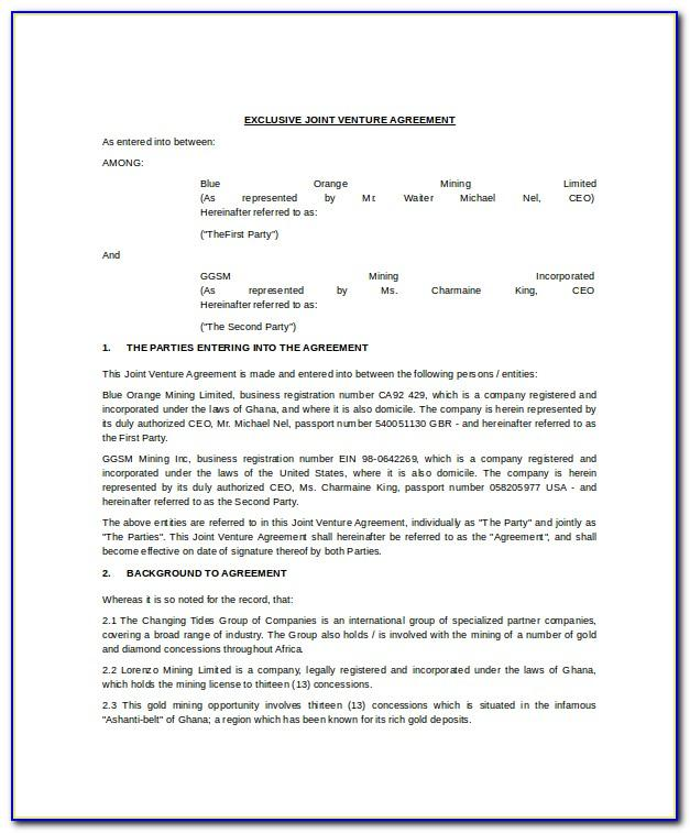 Joint Venture Agreement Template Uk Free