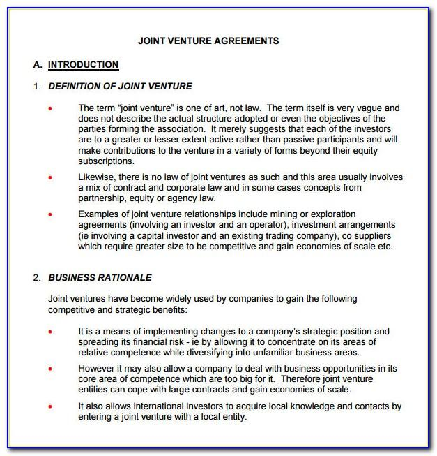 Joint Venture Agreement Template Word