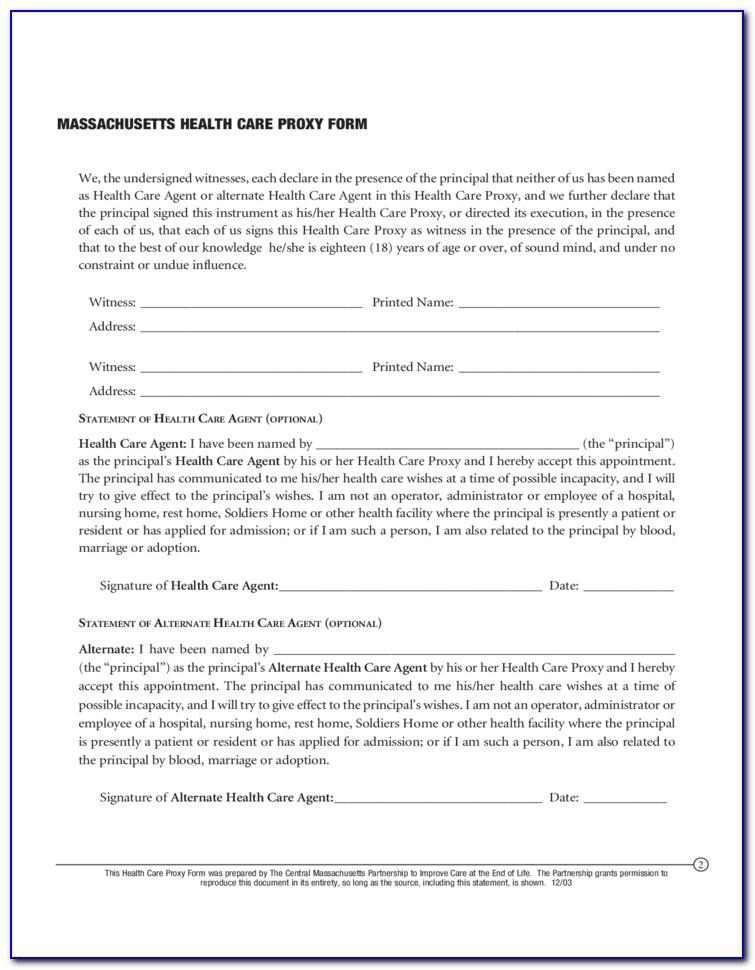 Massachusetts Health Care Proxy Form 2015