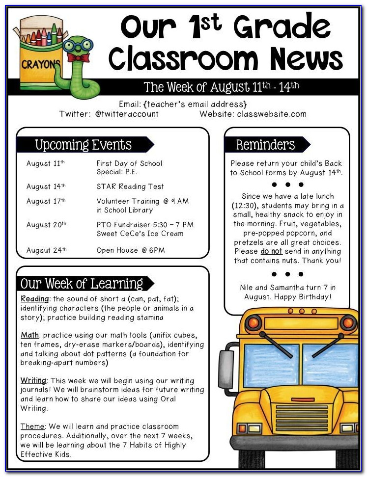 Monthly Newsletter Templates For Teachers