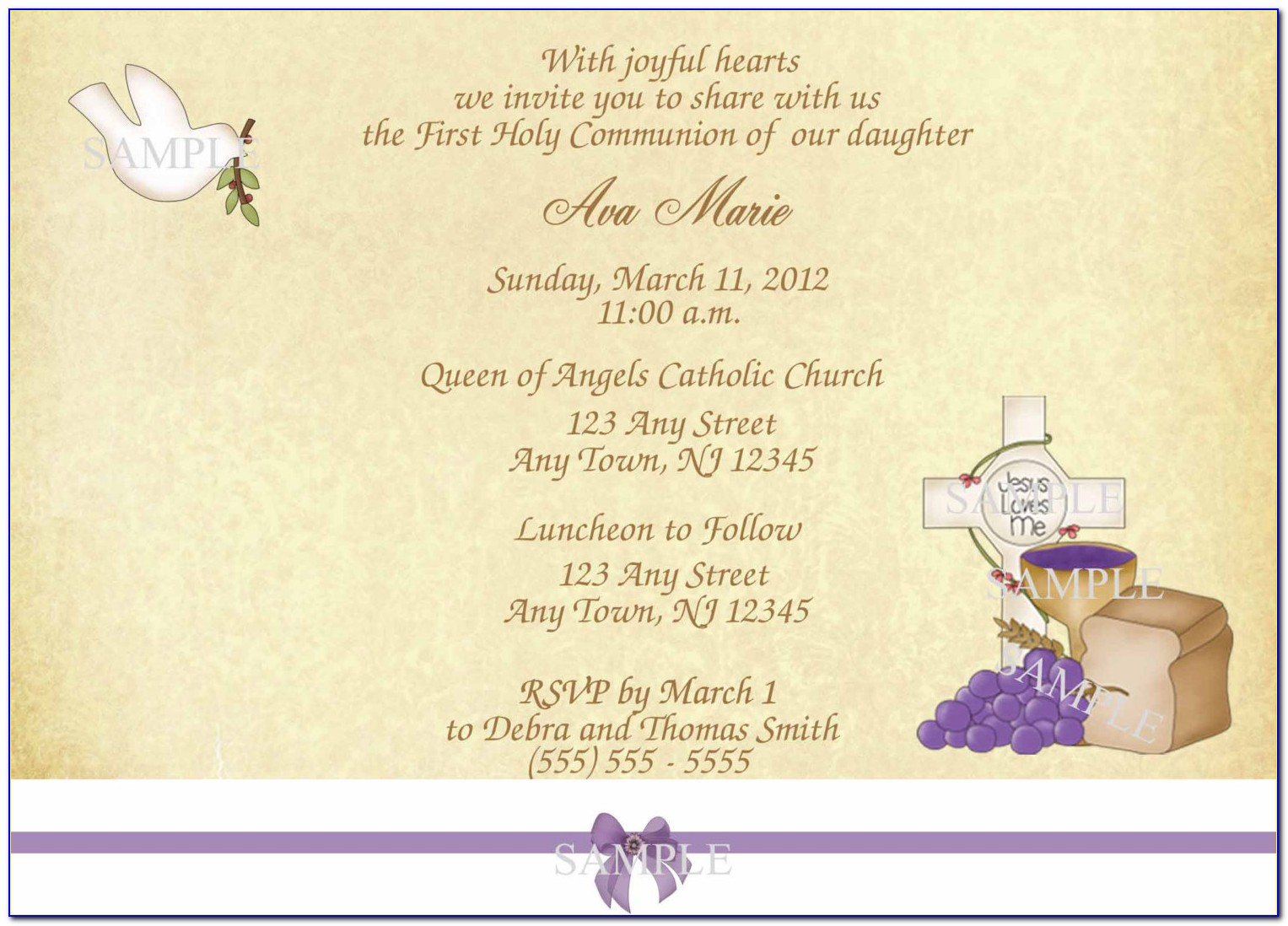 My First Holy Communion Invitation Templates