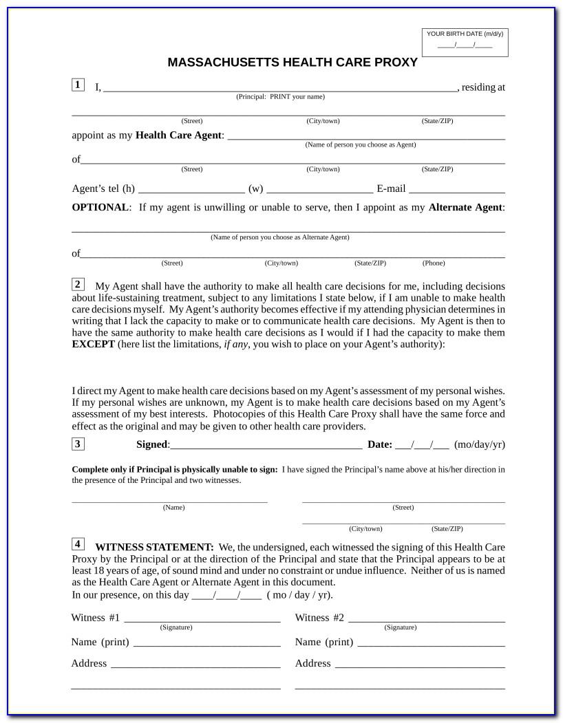 Printable Health Care Proxy Form Massachusetts