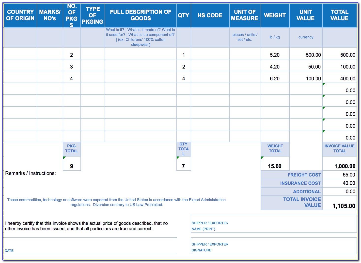 Proforma Invoice Template For Car Sale