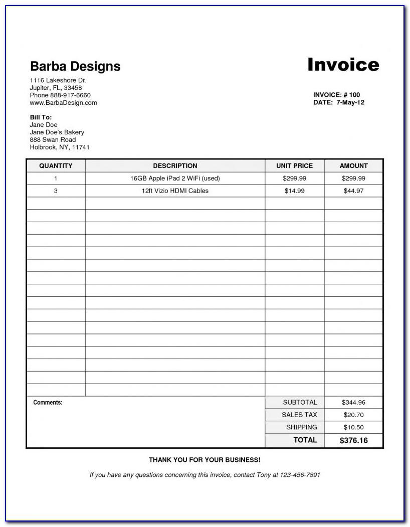 Quickbooks Free Invoice Template