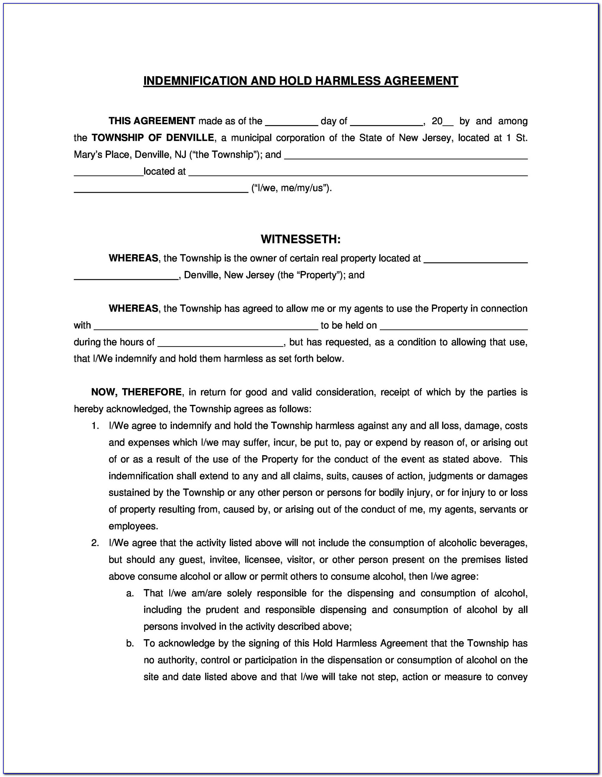 Repossession Hold Harmless Agreement Template