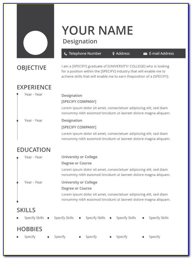Resume Format For Bank Job Pdf Download