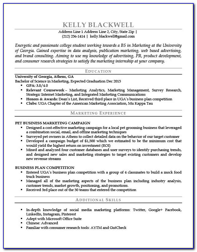 Resume Template For High School Student With No Job Experience
