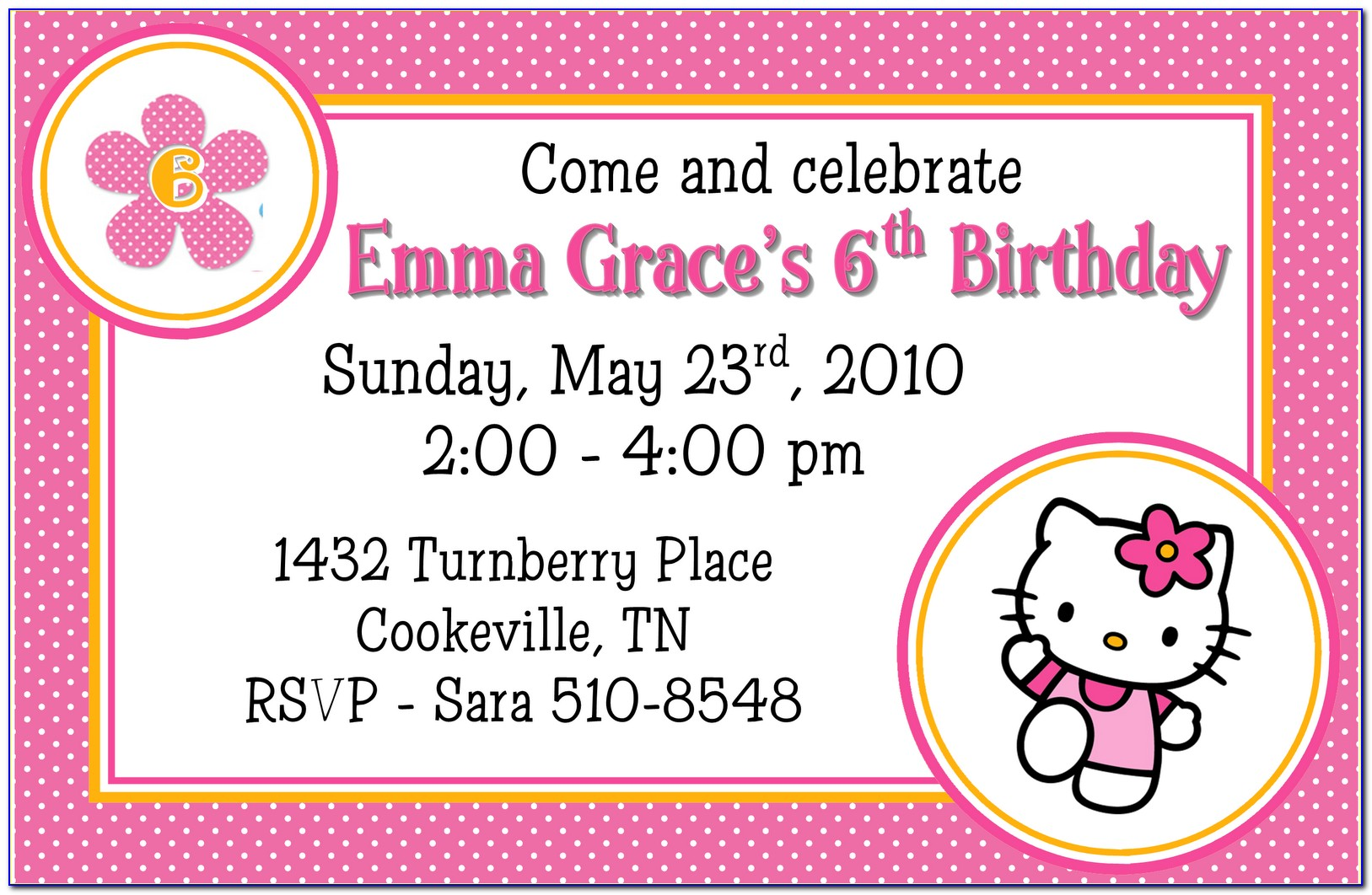 Sample Hello Kitty 7th Birthday Invitation