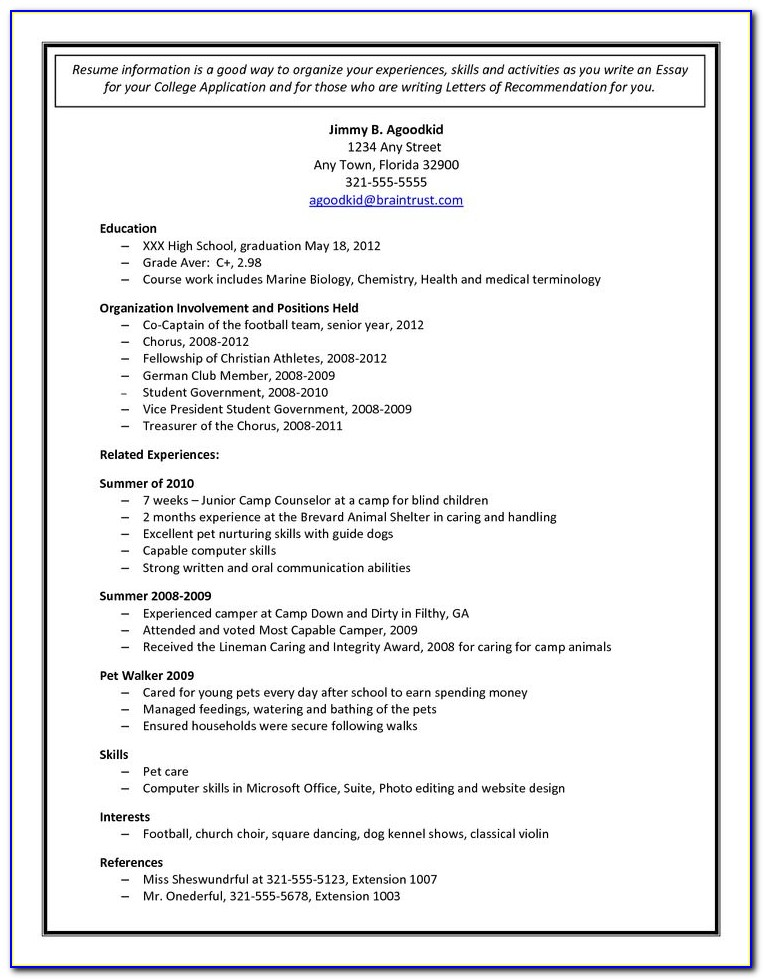 Sample High School Resumes For College Applications